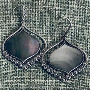 "Silpada 2"" ""Contour"" Sterling Abalone Earrings"